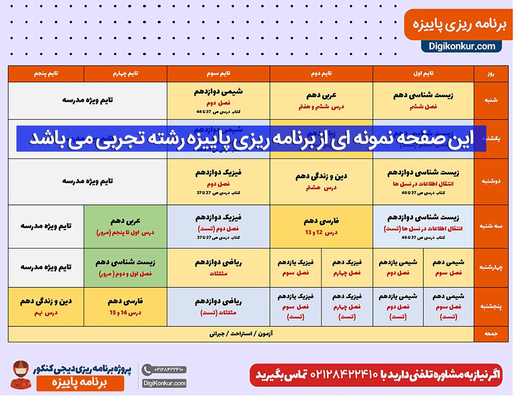 نمونه جدول برنامه ریزی کنکور